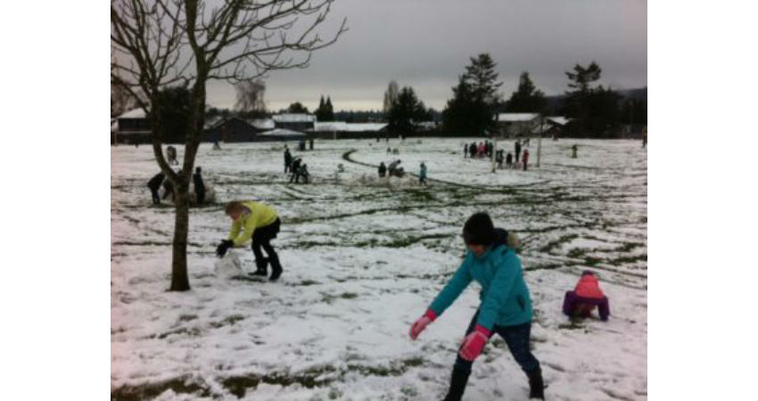 December Snow Day – Students working together